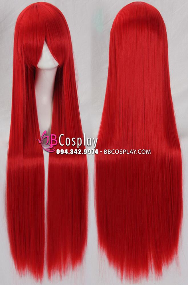 Tóc Giả Đỏ Rực Đỏ Dài 100cm